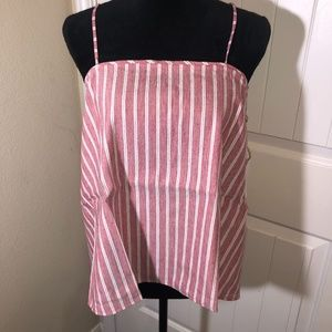 Leith Pink w/white Stripes Tank Top Size Medium